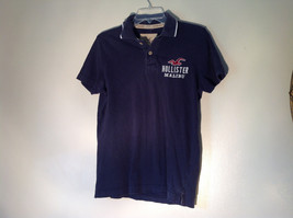 Dark Navy Blue Buttoned Collar Hollister Logo on Front Short Sleeve Shirt Size M