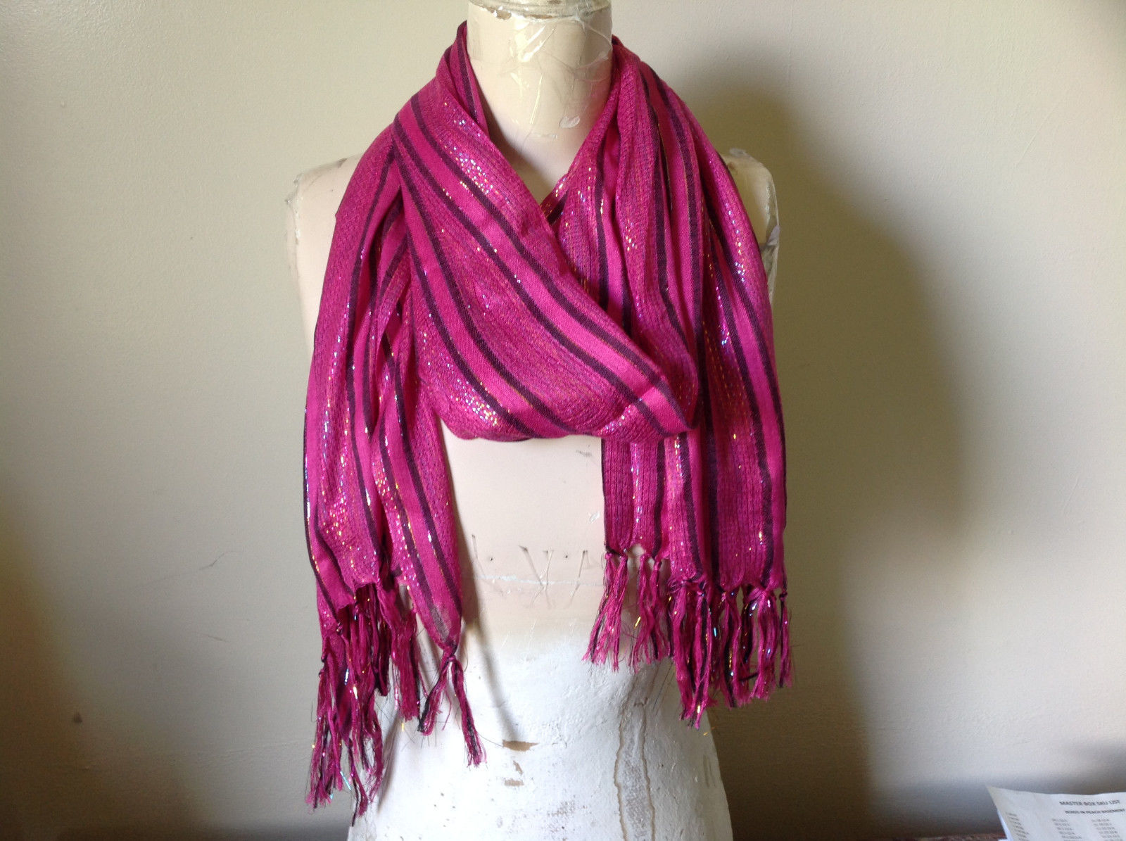 Dark Pink Black Striped Rainbow Metallic Striped Fashion Scarf Tasseled