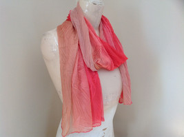 Coral Tan Watercolor Scrunched Pleated Style Fashion Scarf image 2