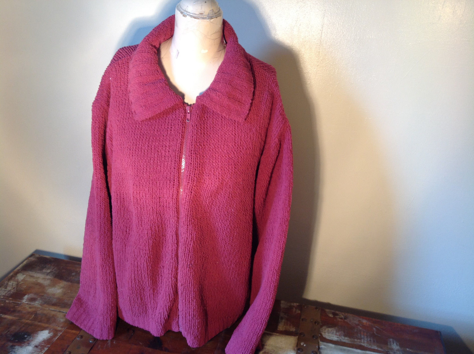 Dark Pink Long Sleeve Zip Up Dressbarn Sweater Very Soft and Comfortable