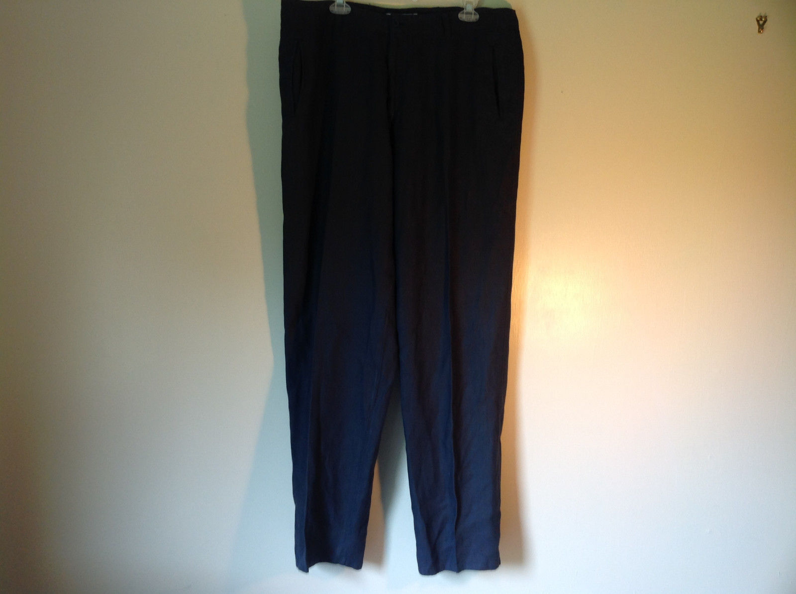 Dark Navy Blue Europann Size 50 Dress Pants 100 Percent Linen