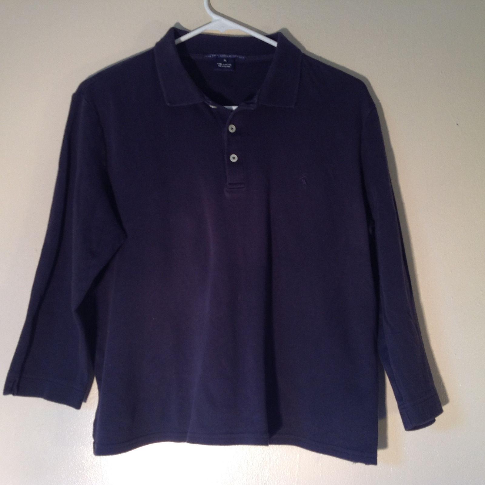 Dark Navy Blue Three Quarter Length Sleeves Collar Ralph Lauren Shirt Size XL