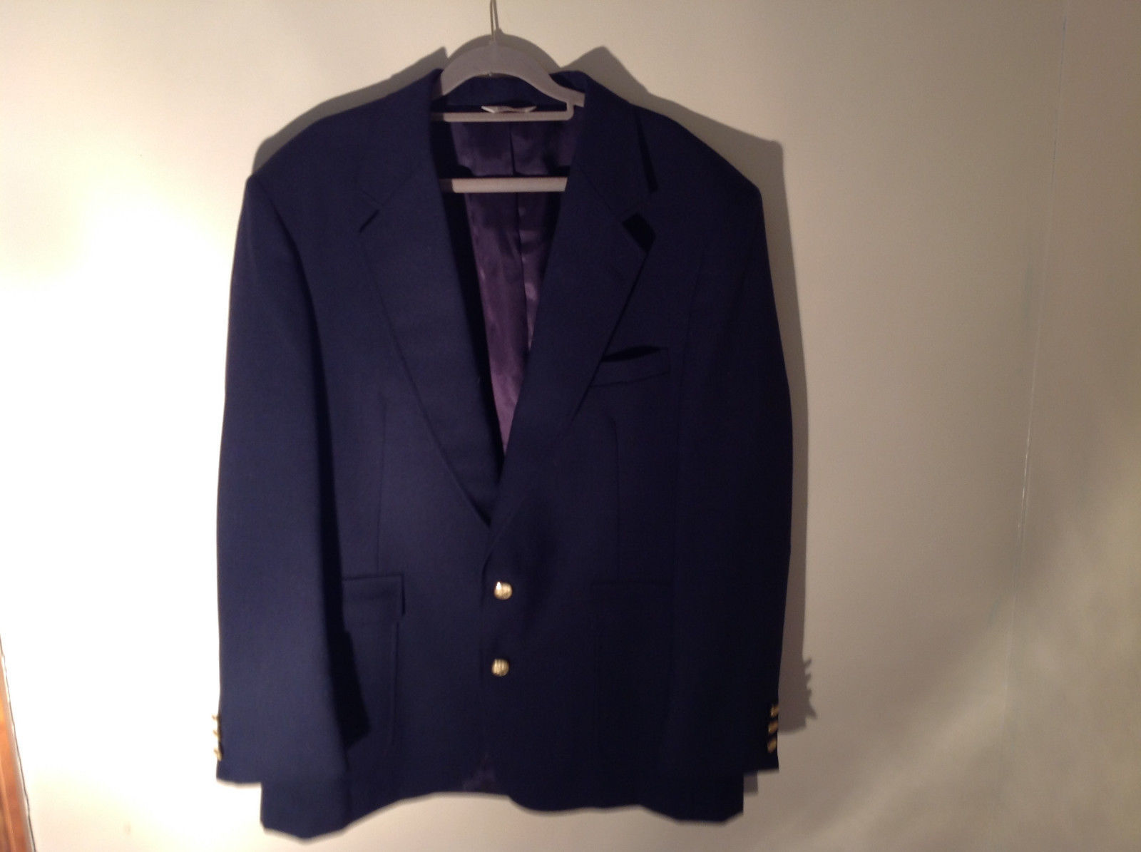 Dark Navy Blue Formal Suit Jacket by Bianchis Two Front Pockets Made in USA