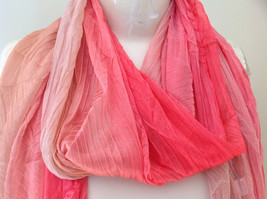 Coral Tan Watercolor Scrunched Pleated Style Fashion Scarf image 3