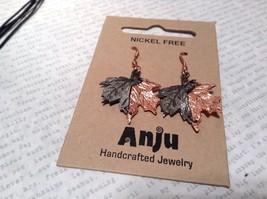 Copper Vintage Pewter Necklace Earring Set Handcrafted Lobster Clasp Maple Leaf image 2