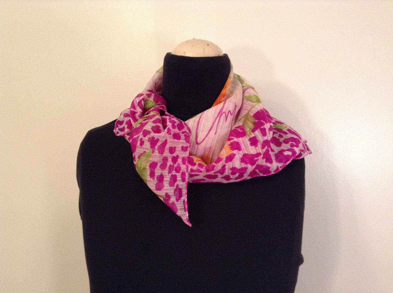 Dark Pink Orange Flowers Leopard Print Border Square Scarf Shawl