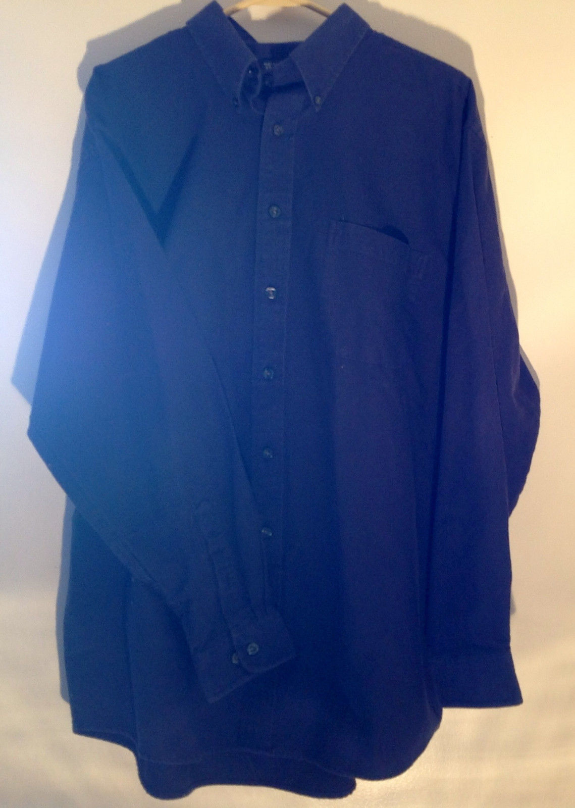 Dark Navy Blue Van Heusen Collared Long Sleeve Casual Pocket Shirt  Size LT
