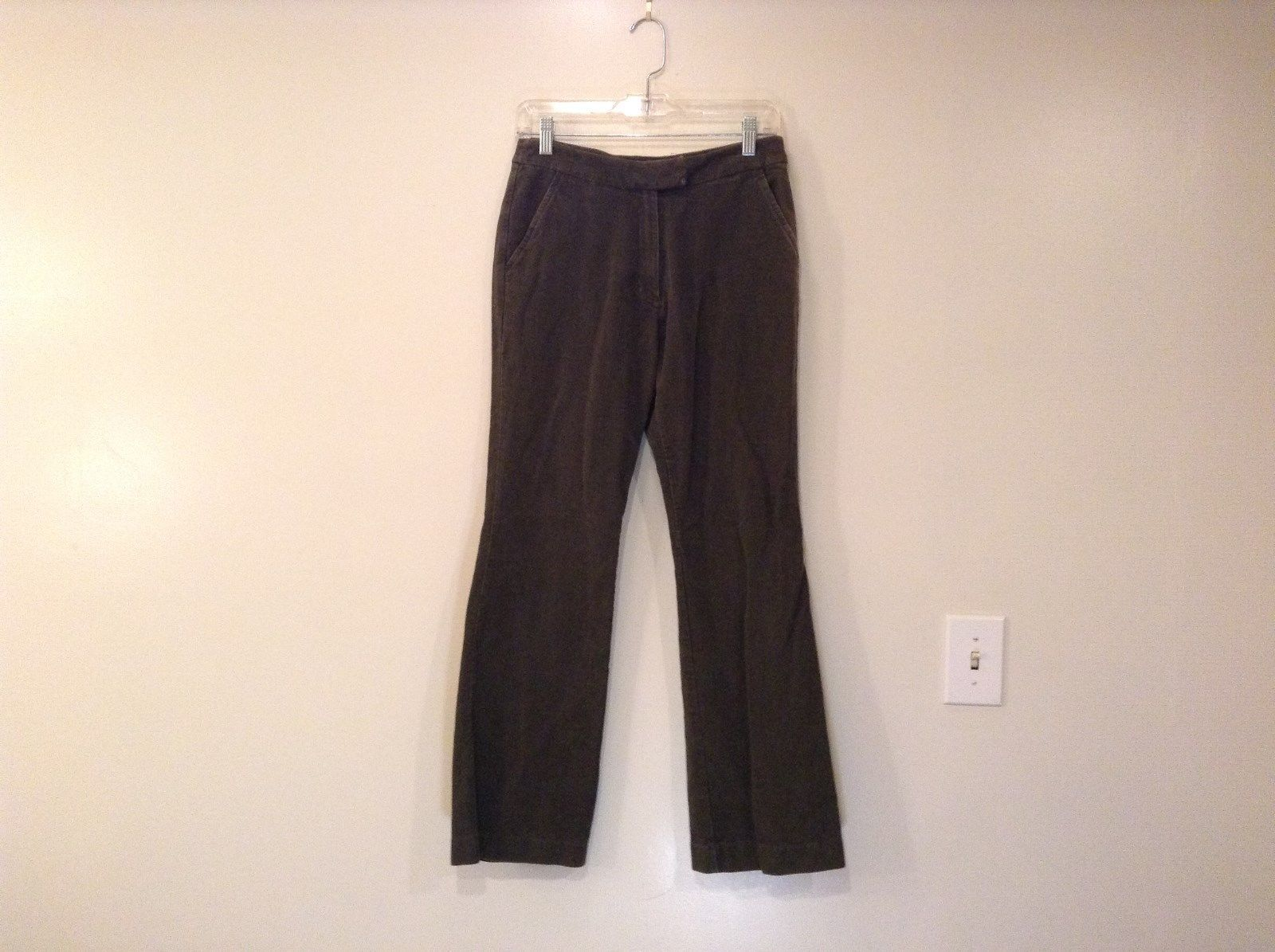 Dark Olive Green Size 10 Reg 100 Percent Cotton Casual Pants Boden Side Pockets