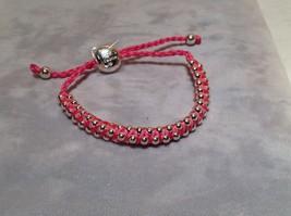 Dark Pink Small Tied String Bracelet  Sliding Bead for Adjustment