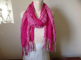 Dark Pink Striped Silver Metallic Stripes Fashion Scarf by Fashion Scarf