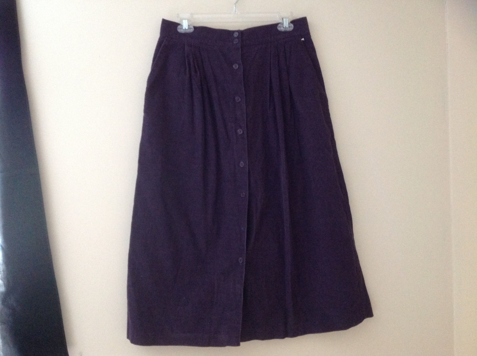 Dark Purple Corduroy Button Up Skirt Angle Length Pleated Pockets NO TAG Size 16