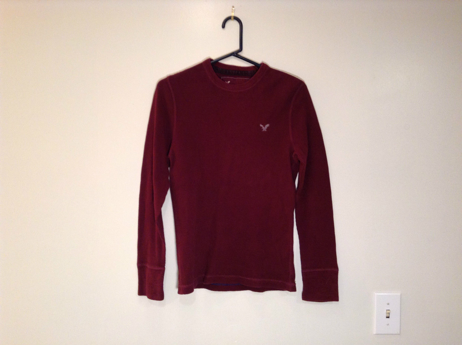 Dark Red American Eagle Outfitters Long Sleeve 100 Percent Cotton Top Size M