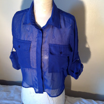 Cotton Express Pretty Blue Button Down Blouse 2 Front Pockets Long Sleeve Size M image 5