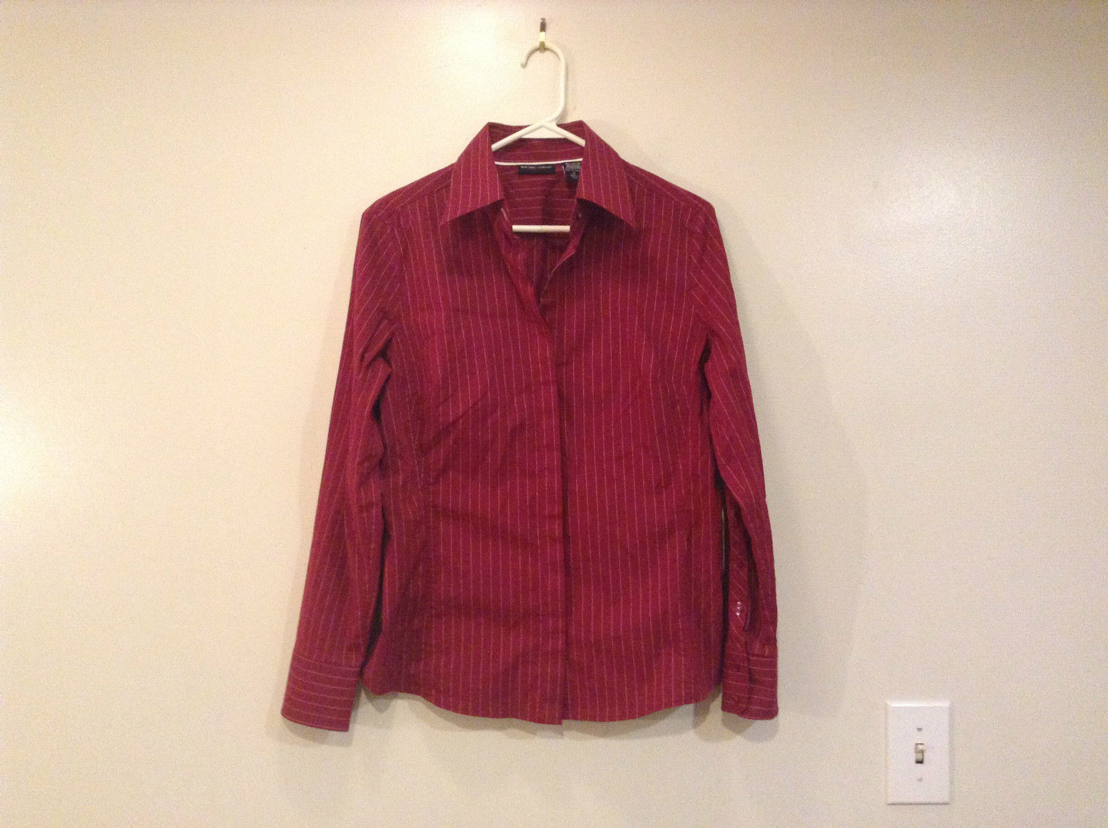 Dark Red with White Stripes V Neck Button Up Shirt New York and Company Size L