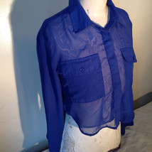 Cotton Express Pretty Blue Button Down Blouse 2 Front Pockets Long Sleeve Size M image 4