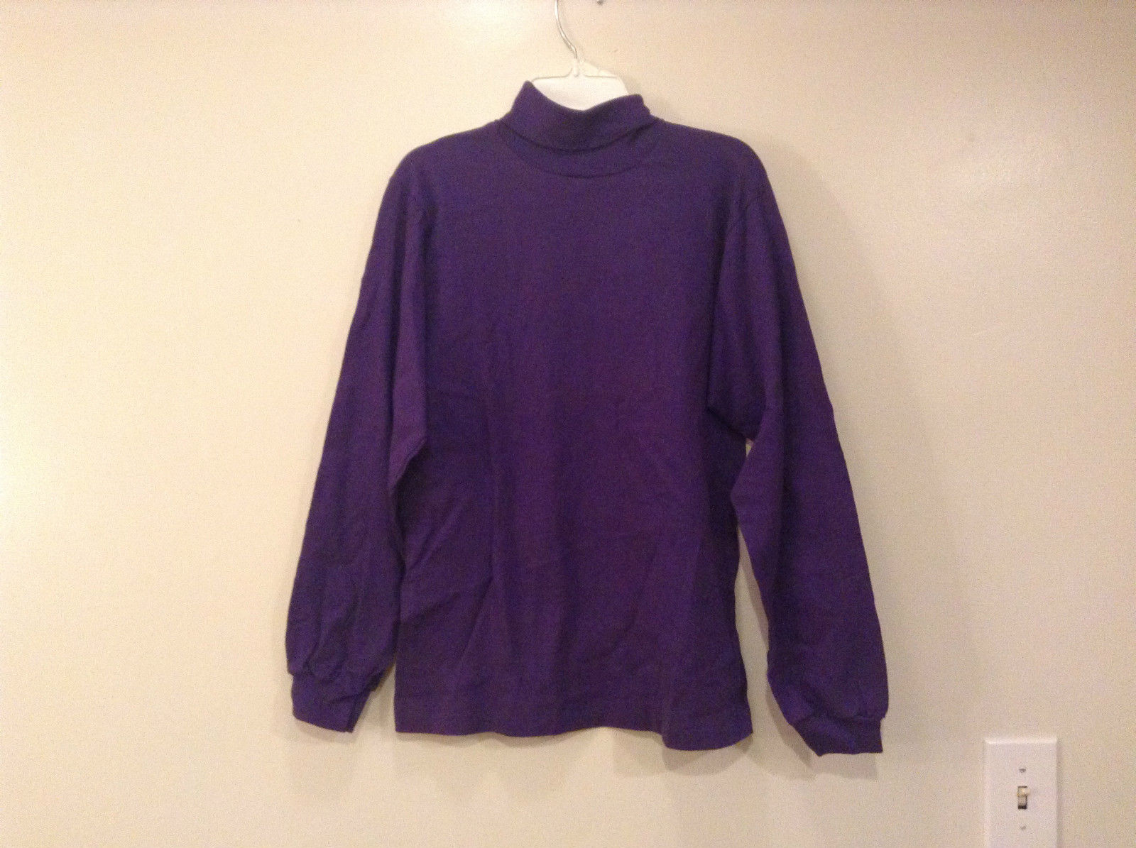 Dark Violet Donmoor 100 Percent Cotton Turtleneck Top Size Large 16 NEW With Tag