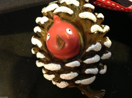 Department 56 ornament cute Pine Cone with Red bird peeking out from inside image 1