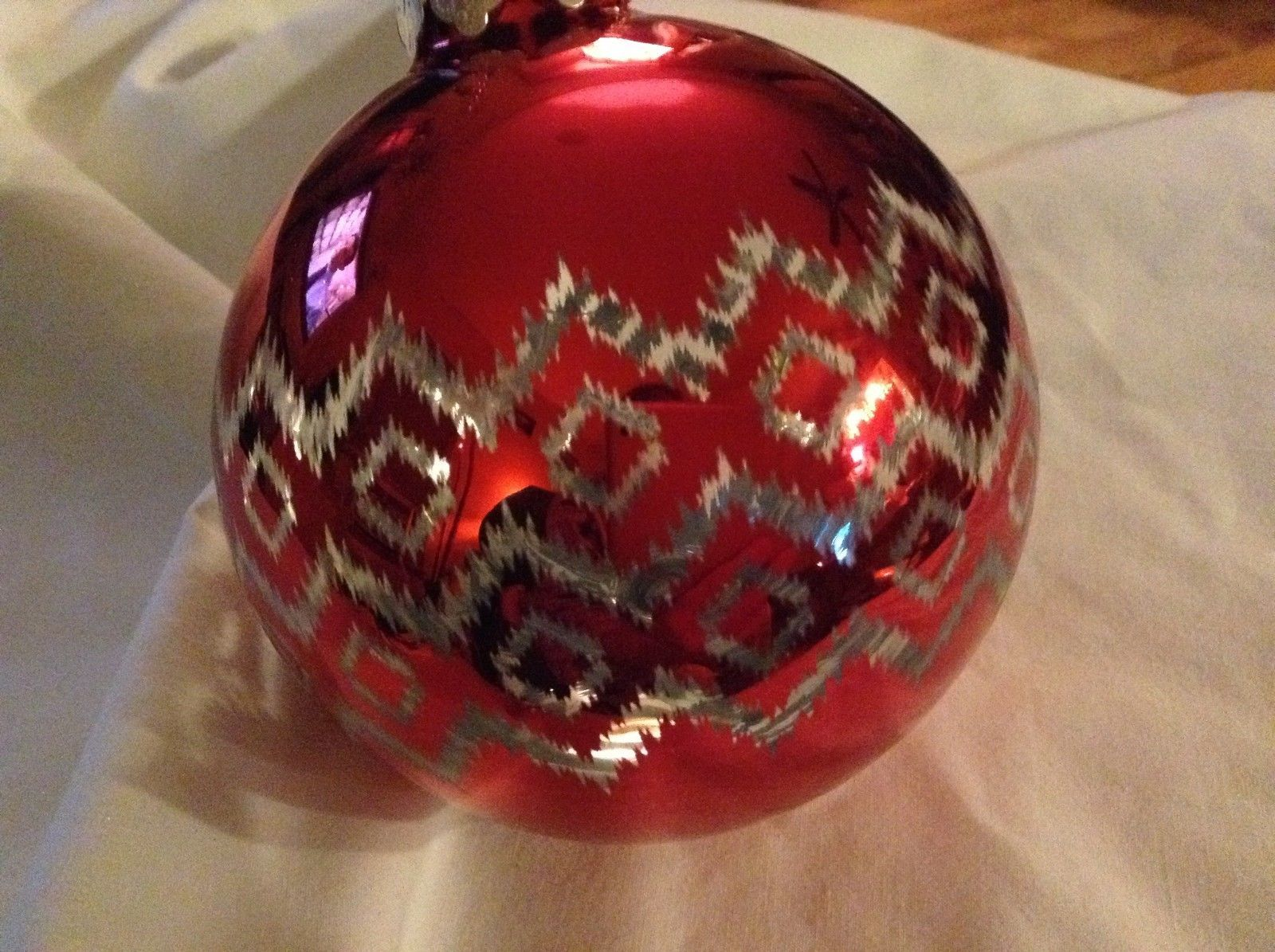 Department 56 red silver filigree geo zig vintage style Glass Holiday Ornament