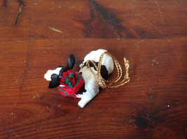 Cow with Scarf on Neck Ornament Gold Colored String for Hanging image 3
