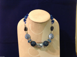 Dark and Light Blue Beaded Hand Made String Necklace Unique