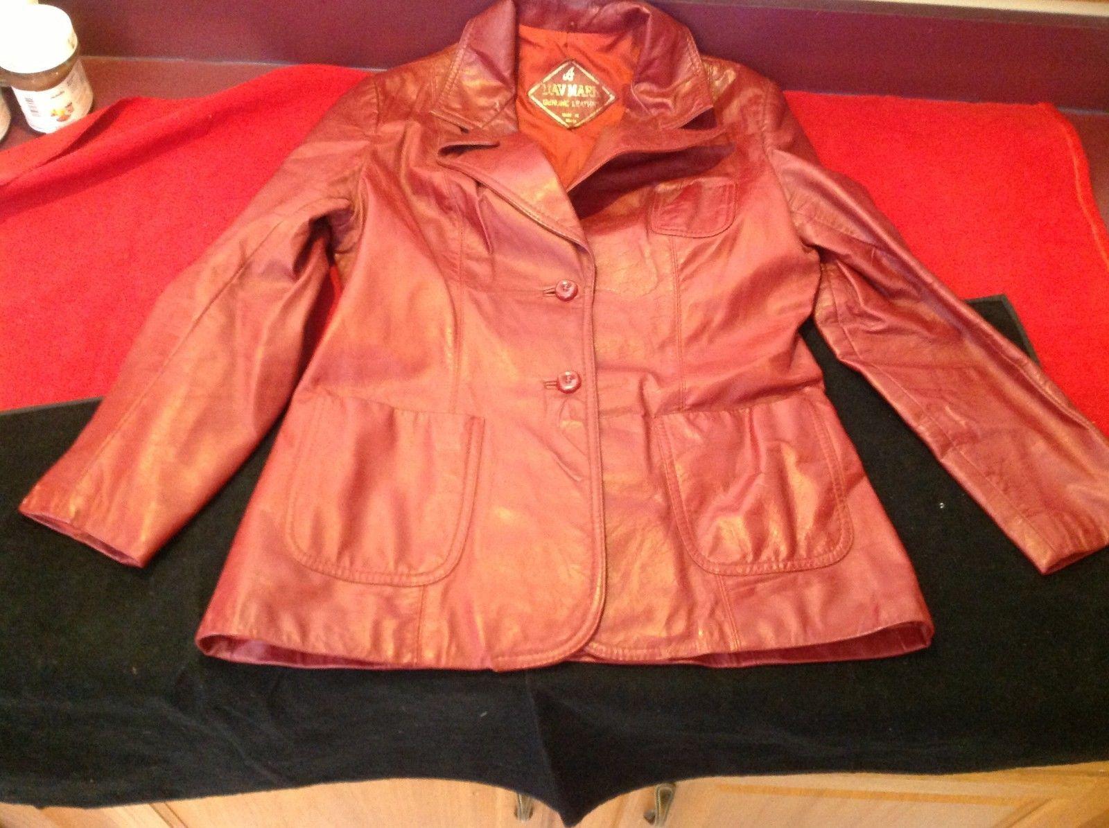 Dav Mark Women's Burgundy Genuine Leather Jacket size 16