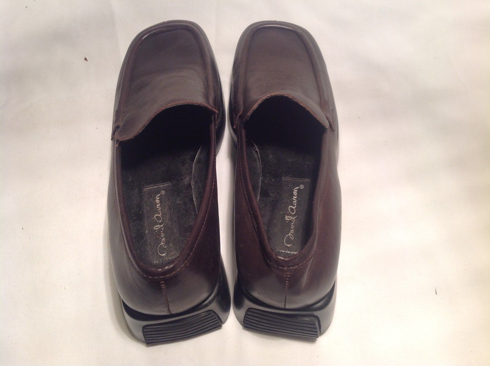 David Aaron Black and Brown Leather Dress Shoes Large Platform Size 8