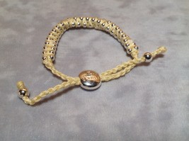 Creme Small Tied String Bracelet  Sliding Bead for Adjustment image 3