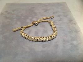 Creme Small Tied String Bracelet  Sliding Bead for Adjustment image 5