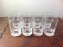 Crystal Juice Glasses Set of Eight Handmade Copper Wheel Engraving image 2