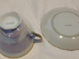 Cup saucer set gray opal pedestal w florals gold trim National Potteries image 4