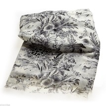 Cream Soft viscose with black and gray floral print scarf image 3