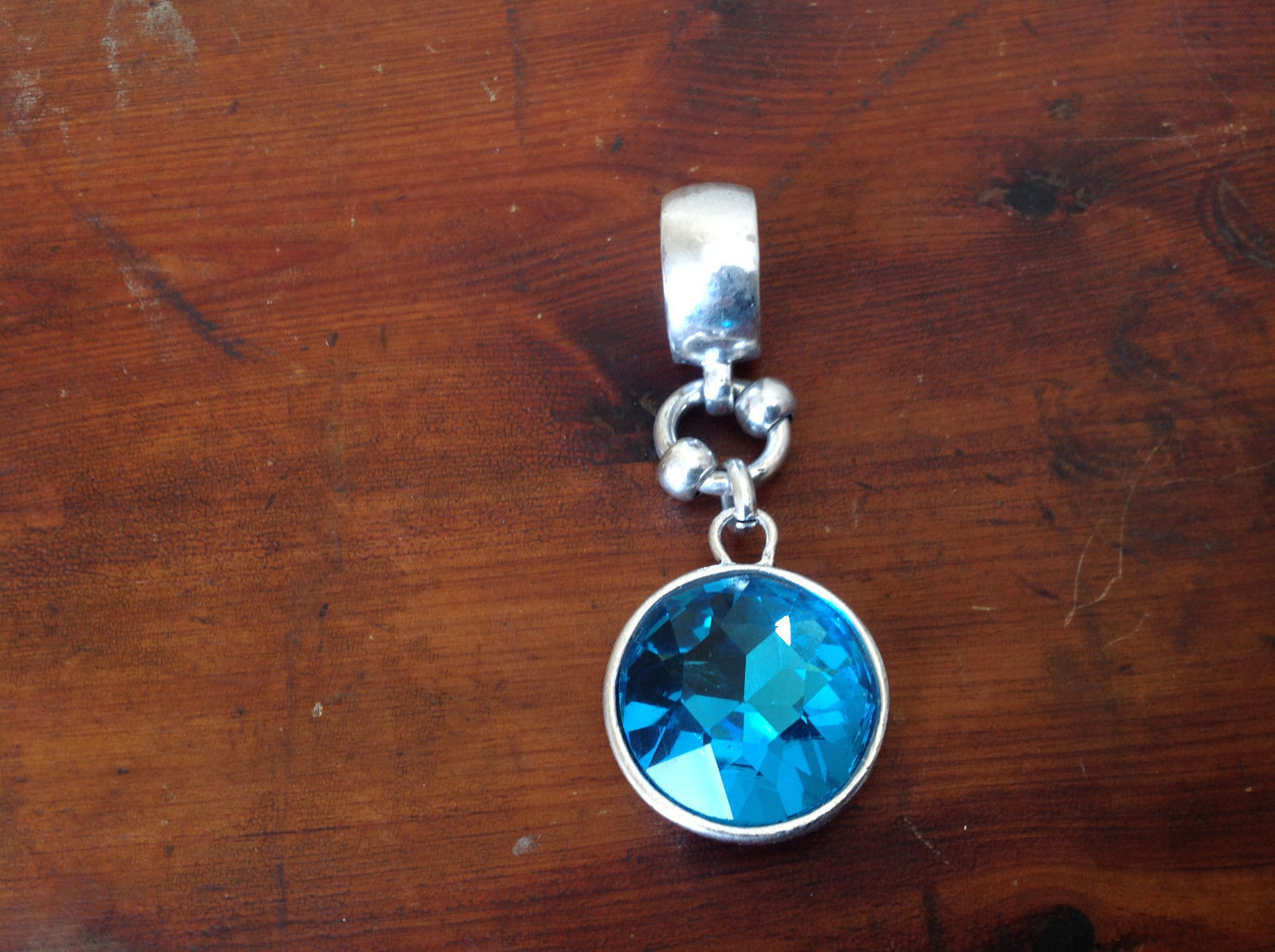 Dazzling Large Light Blue Crystal Silver Tone Scarf Pendant by Magic Scarf