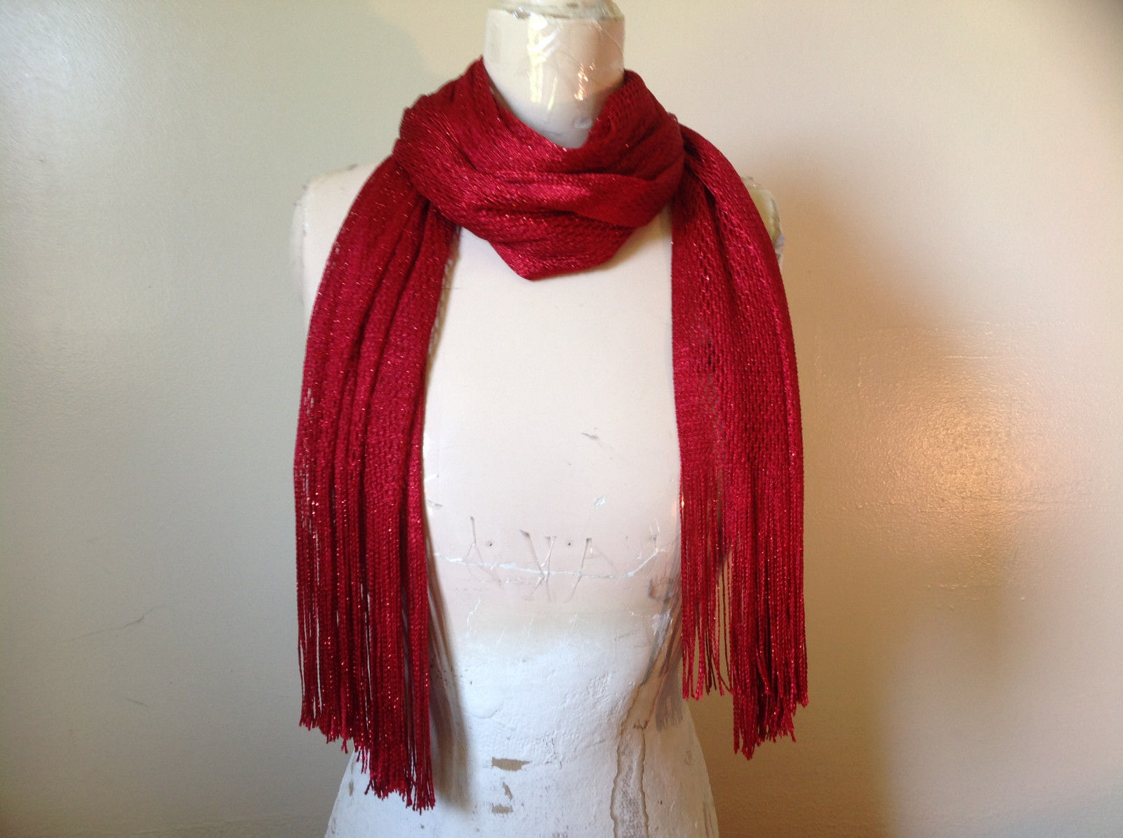 Dazzling Red Net Knit Shiny Fashion Scarf by Fashion Scarf Tasseled Stretchy