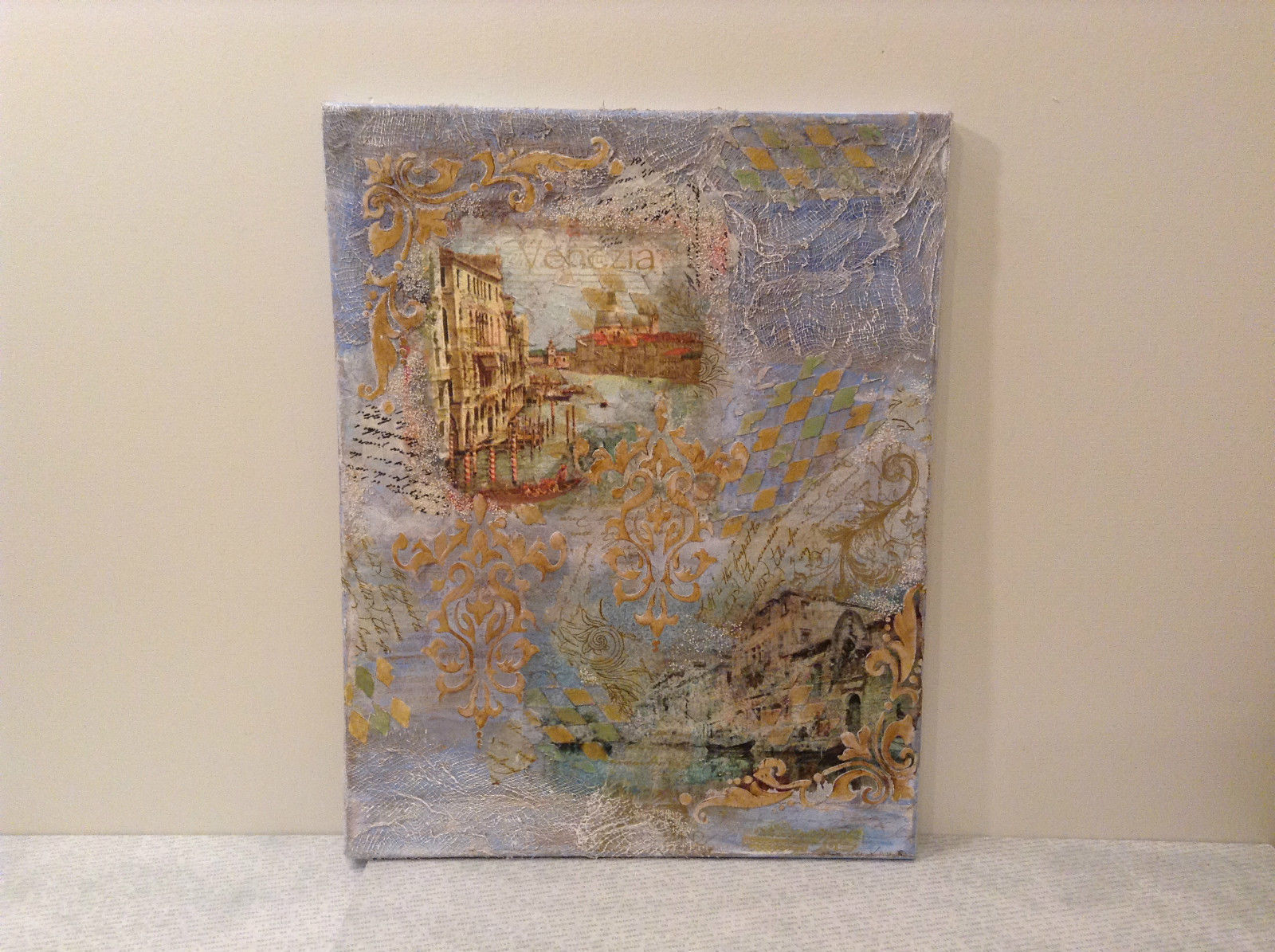 Decorative Canvas Grand Canal Venice Artist L Mironova Vintage Russian Handmade