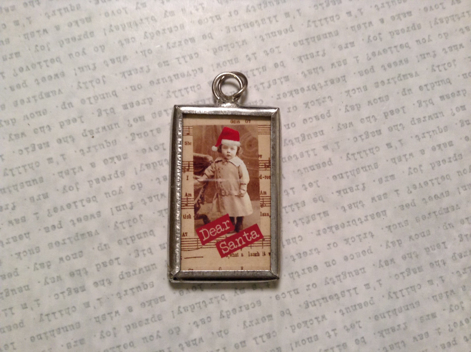 Dear Santa Charm Present Tie On Versatile Reversible Tag Metal Glass Tag