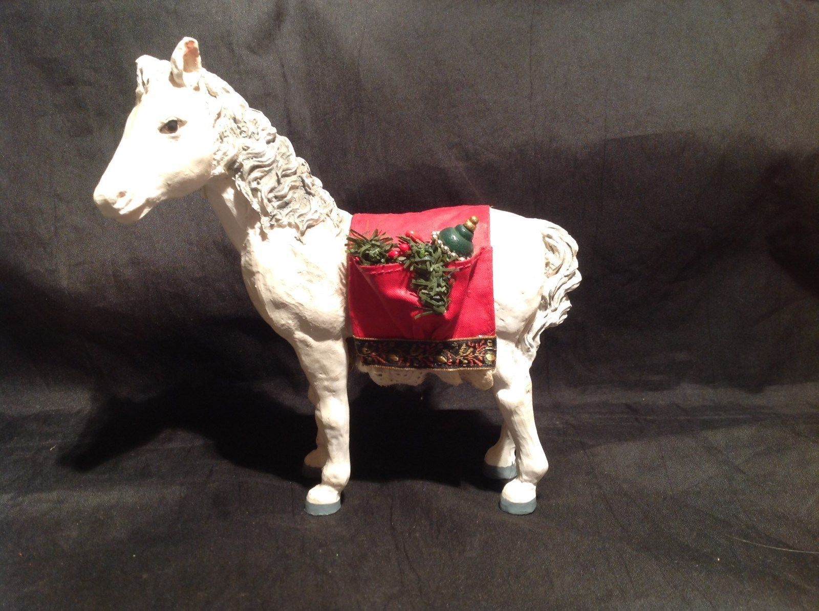 Decorative Horse Figurine White with Red Saddle Holding Christmas Items