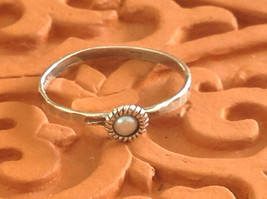 Delicate Hammered Sterling Silver Gray Pearl Ring Size Choice 7 or 8 image 1