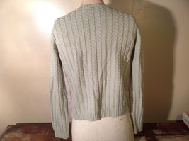 Crystal Kobe Light Green Relief V Neck 100 Percent Cotton Sweater Size Small image 3