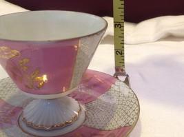 Cup saucer set pink pedestal w florals fish scale gold gilt National Potteries image 8