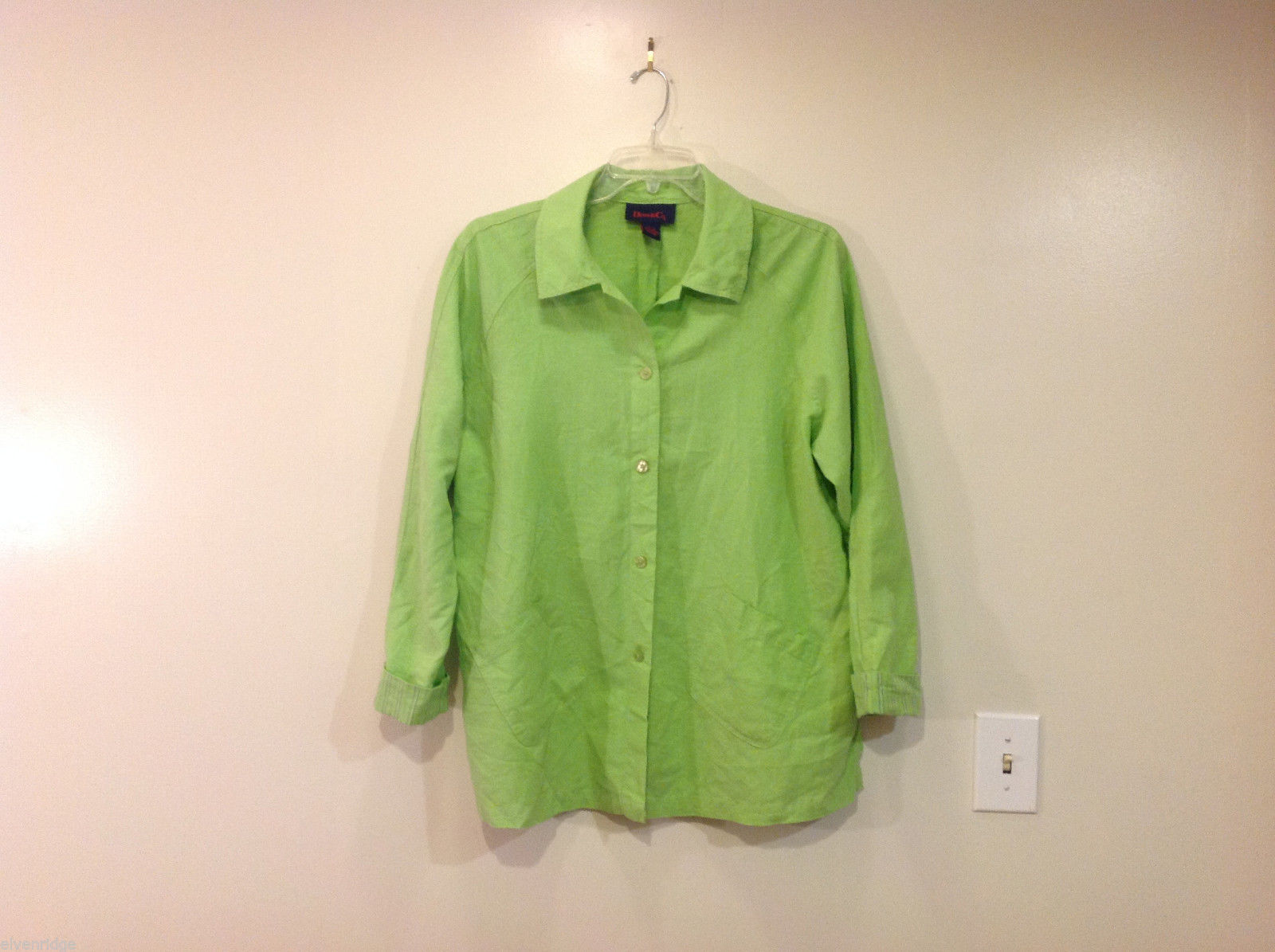 Denim & Co. Green Summer Lightweight Button Front Jacket Shirt, Size M