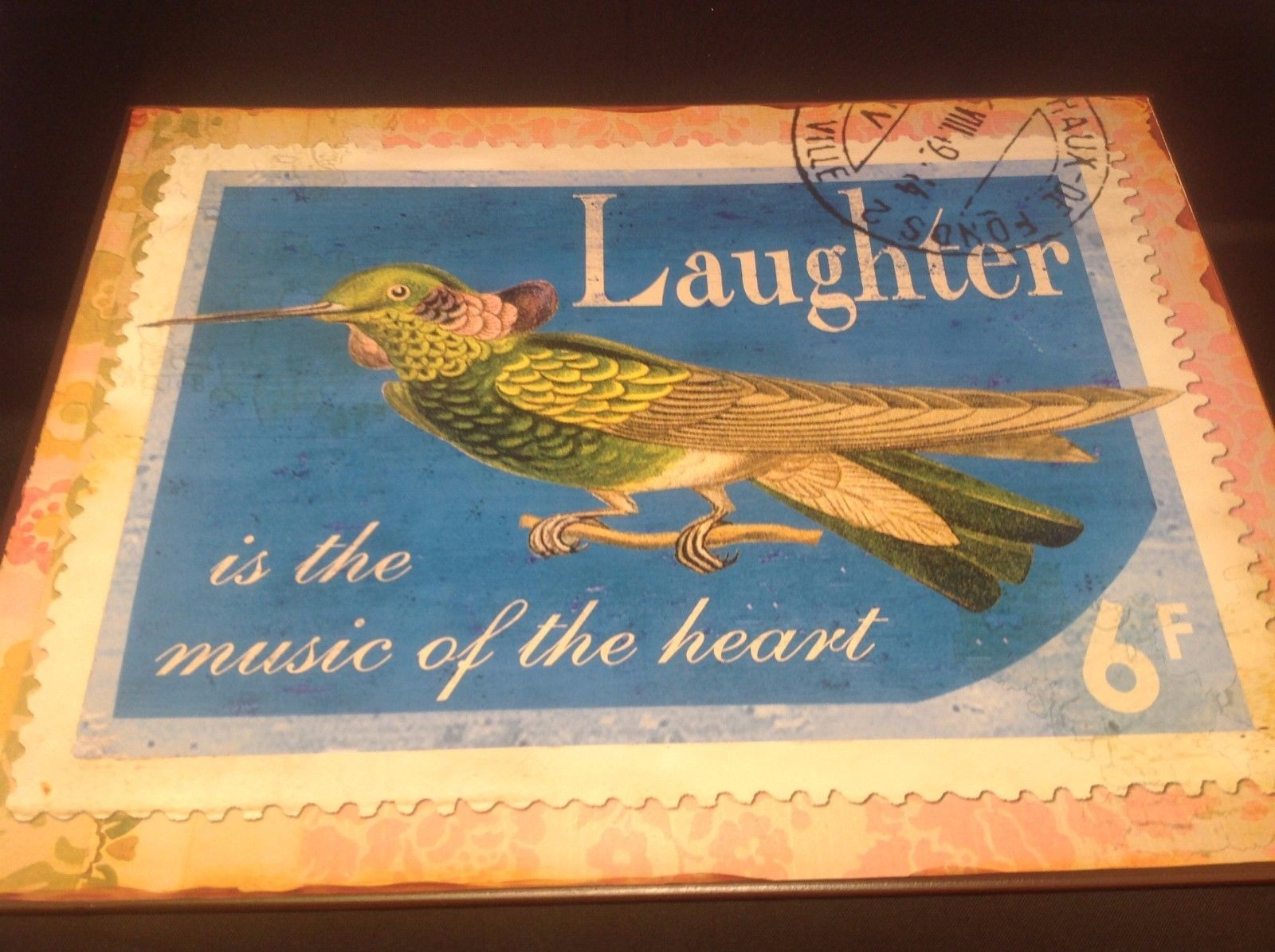 Decorative Indoor/Outdoor Metal Plaque Laughter Theme Bird With Tag New