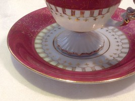 Cup saucer maroon pedestal w scroll flourish gold trim National Potteries image 2