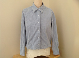 Denim & Co. Light Blue White Checkered Button Up Shirt Made in Hong Kong Size L