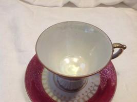 Cup saucer maroon pedestal w scroll flourish gold trim National Potteries image 3