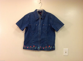 Denim & Co. Short Sleeve Medium Blue Wash Jean Jacket Front Zipper, Size L - $29.69