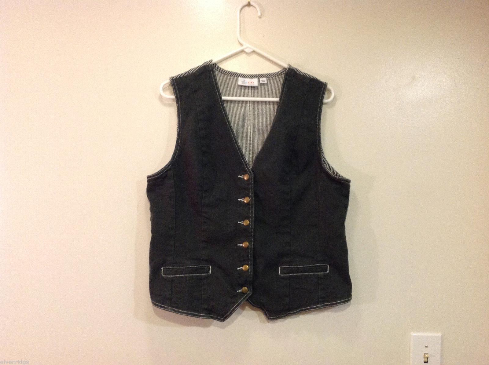 Denim and Co. Dark Olive Green Stripes on Back Jeans V-neck Vest, Size L