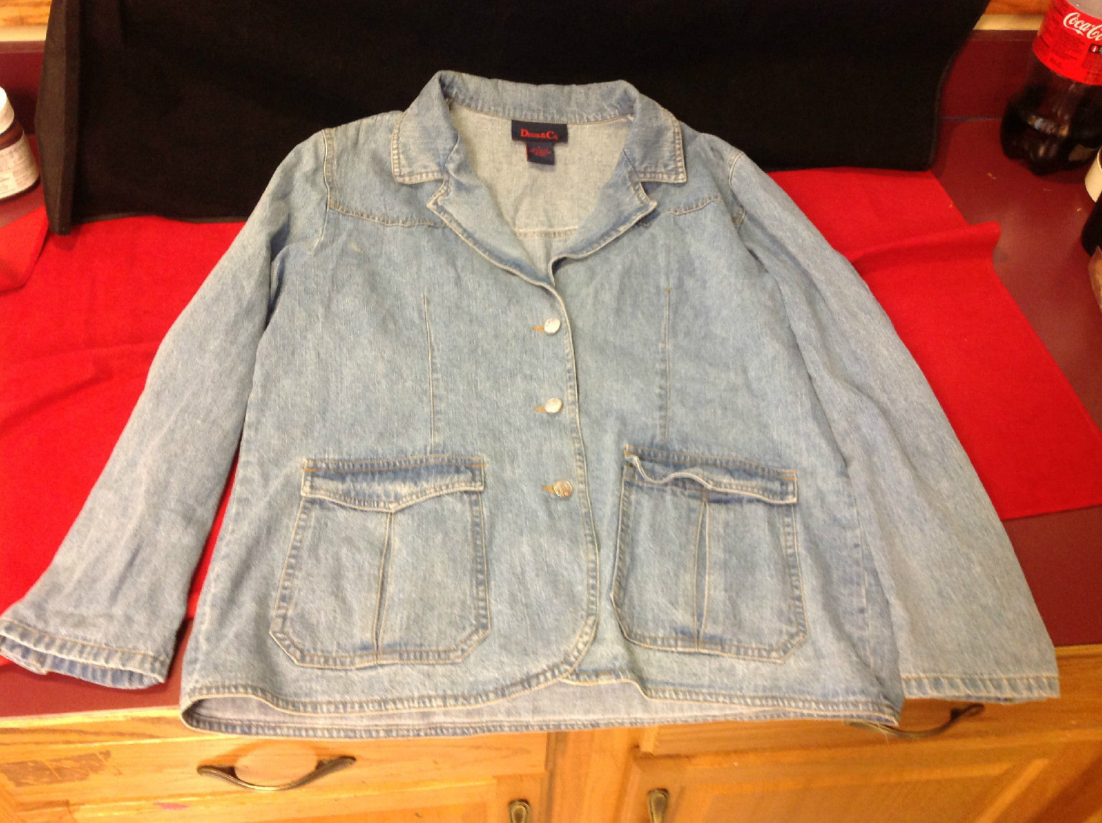 Denim & Co. Ladies Light Blue Denim Jacket Size Large
