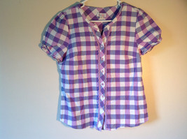 Denim and Company Purple and White Checkered Button Down Shirt Size Medium