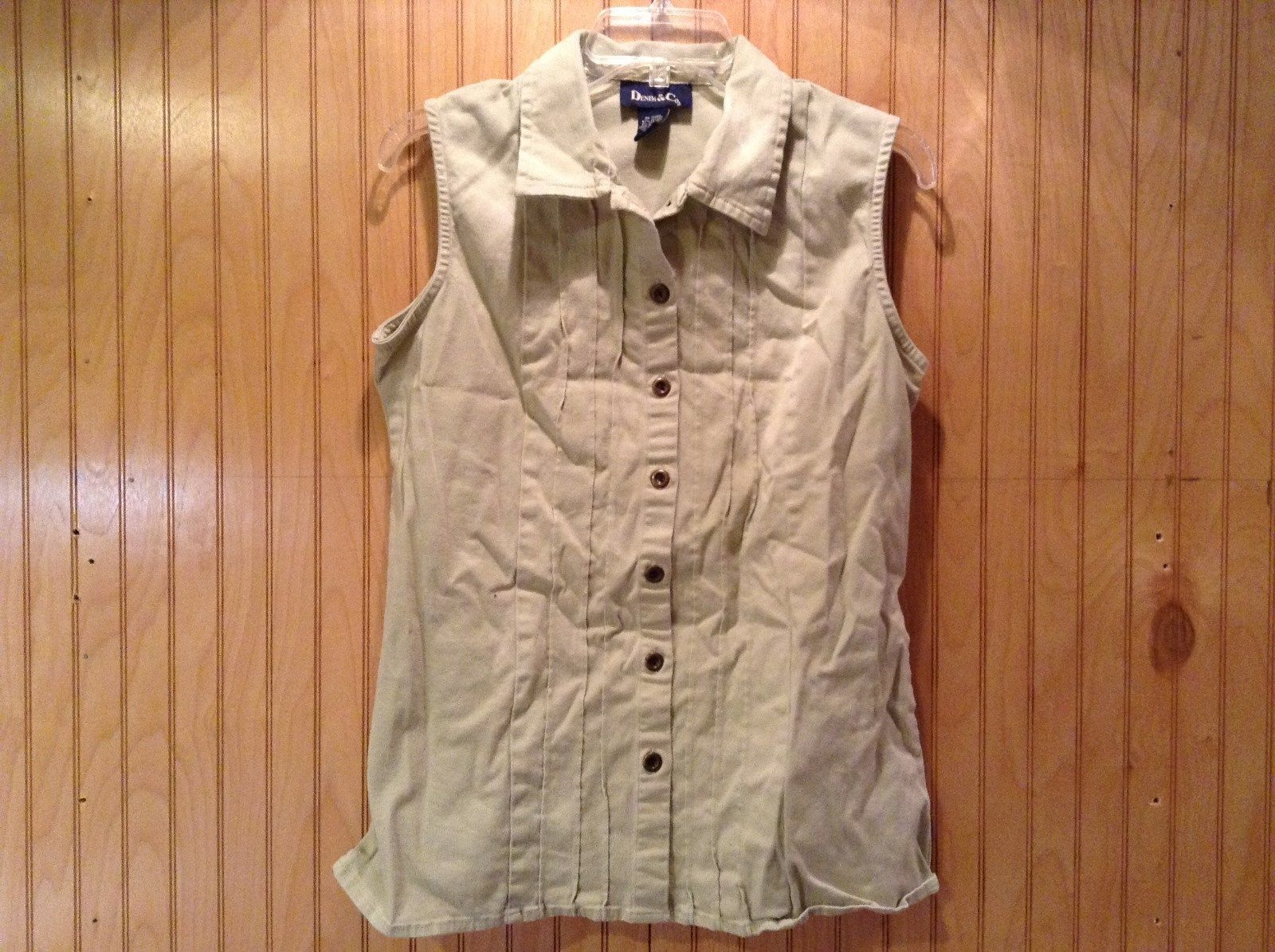 Denim and Company Sleeveless Button Up Light Brown Shirt Size Medium