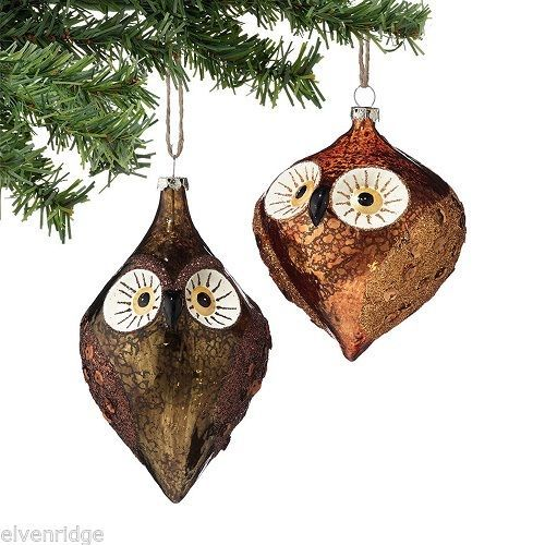 Department 56 Blown glass owl w sequins glitter choice chocolate or bronze